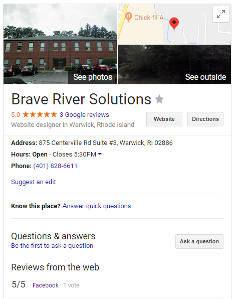 Brave River Solutions Google my Business Listing example